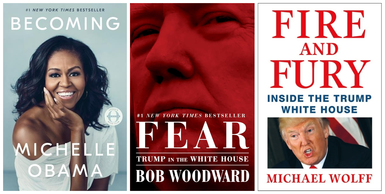 Cover images for Becoming, Fear, and Fire and Fury.