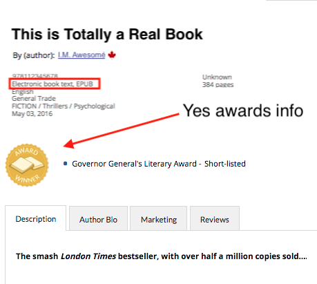 Image showing award info displaying for the EPUB version of a title