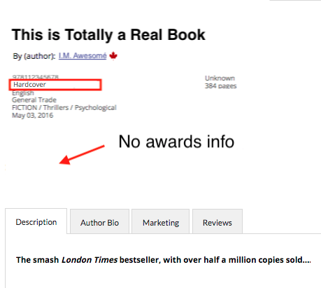 Image showing no awards data showing for the hardcover format of the same title