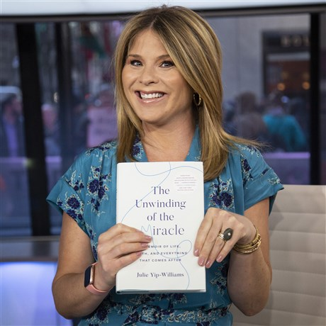 Photo of Jenna Bush Hager holding up The Unwinding of the Miracle, one of her book club picks.