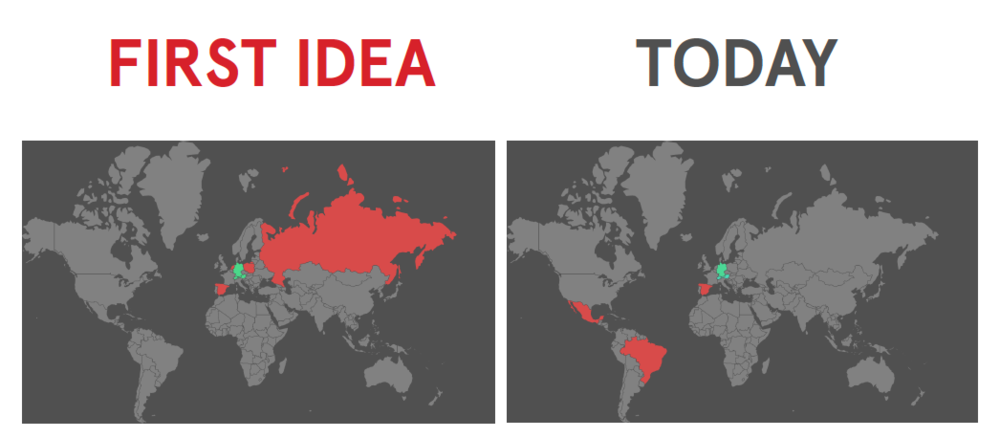 Two world maps, in the first one Germany is in green, in read are the countries where Bookwired wanted to expand including Russia, Poland and Spain. On the right there's a map showing to which countries Bookwire actually expanded: Brazil, Mexico and Spain.