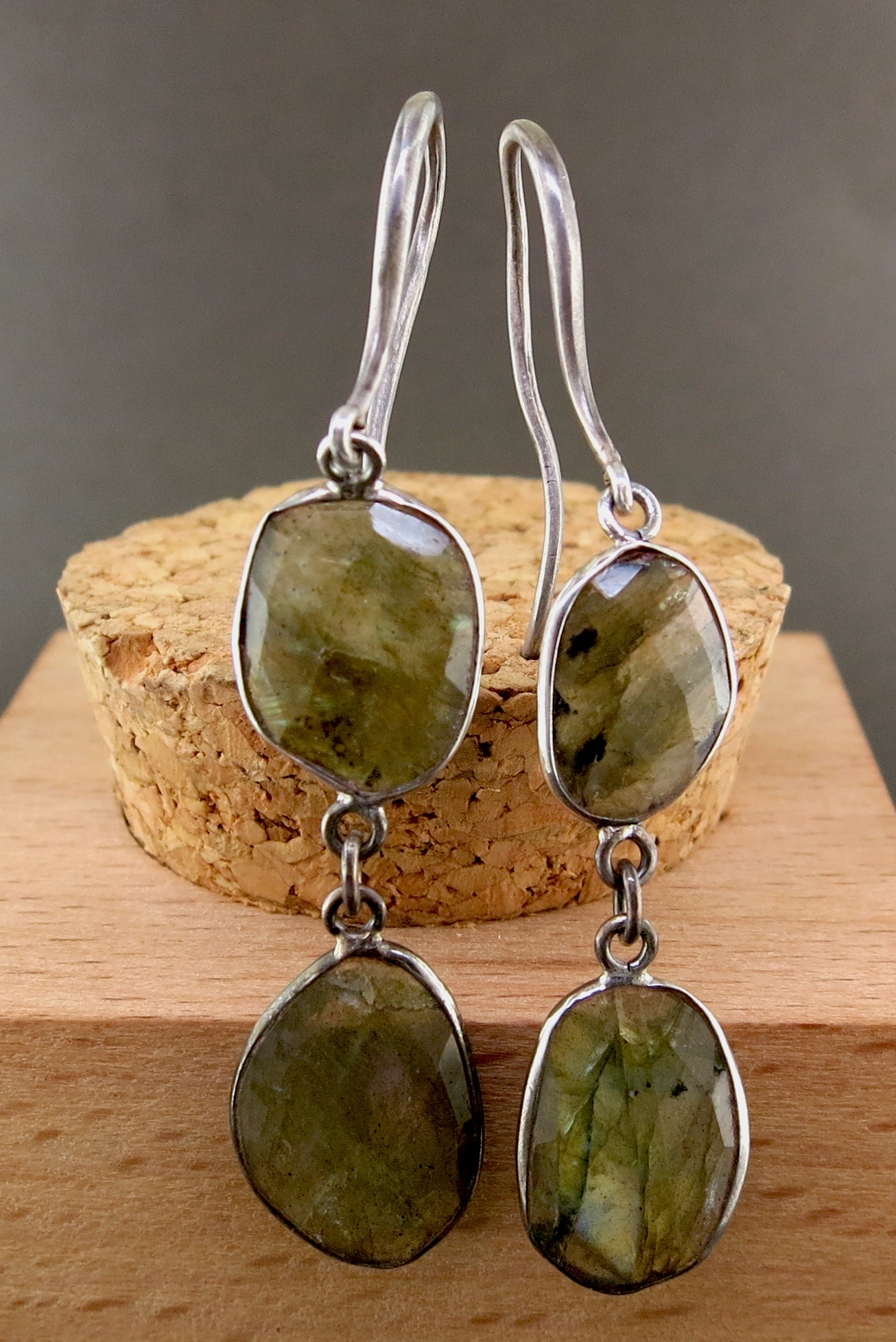Hand Forged Silver and Quartz Dangle Earrings (MB422)