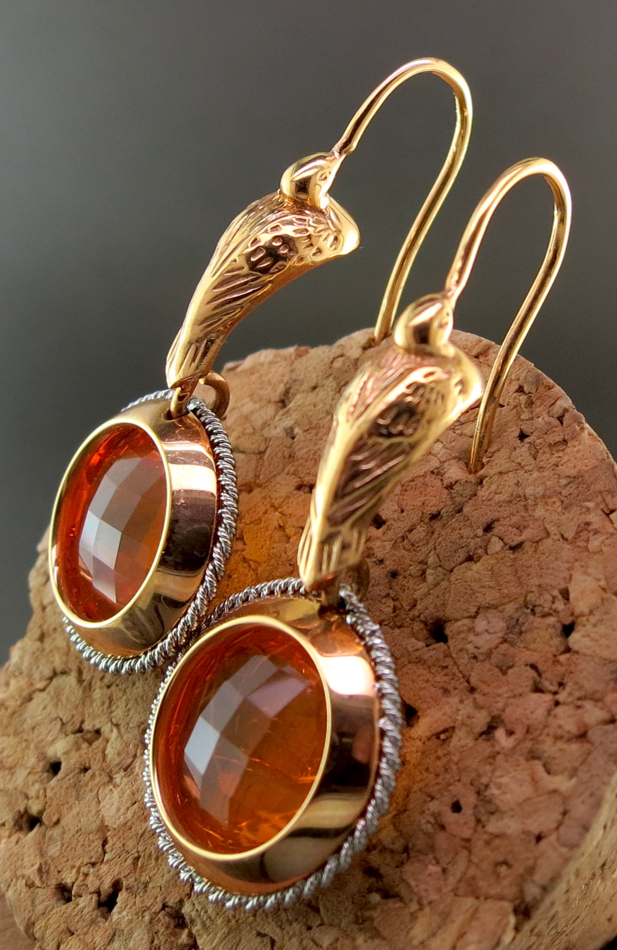 18 Karat Rose Gold, Platinum, and Mexican Opal Dangle Earrings (MB526)