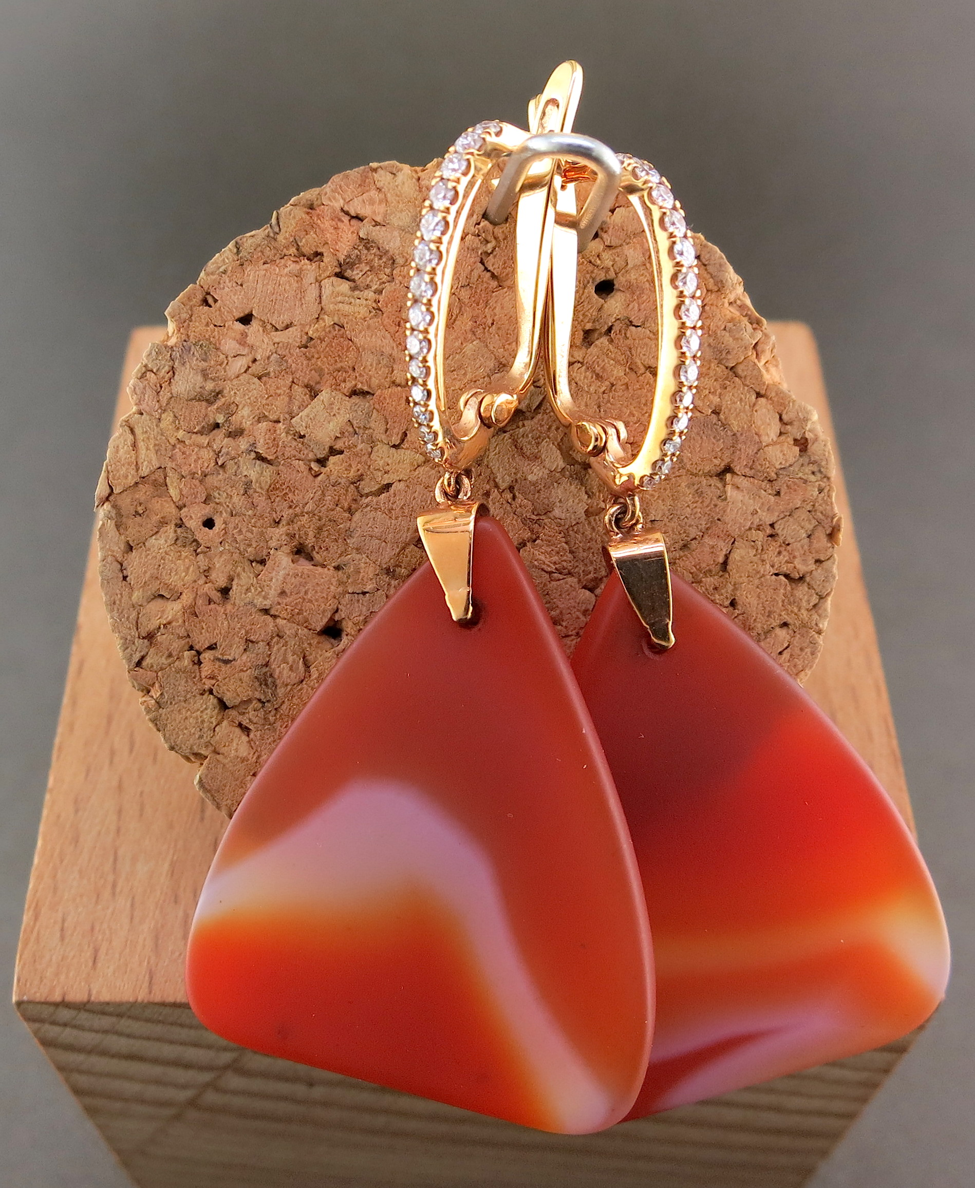 14 Karat Rose Gold and Agate Earrings, accented withDiamonds (MB647)