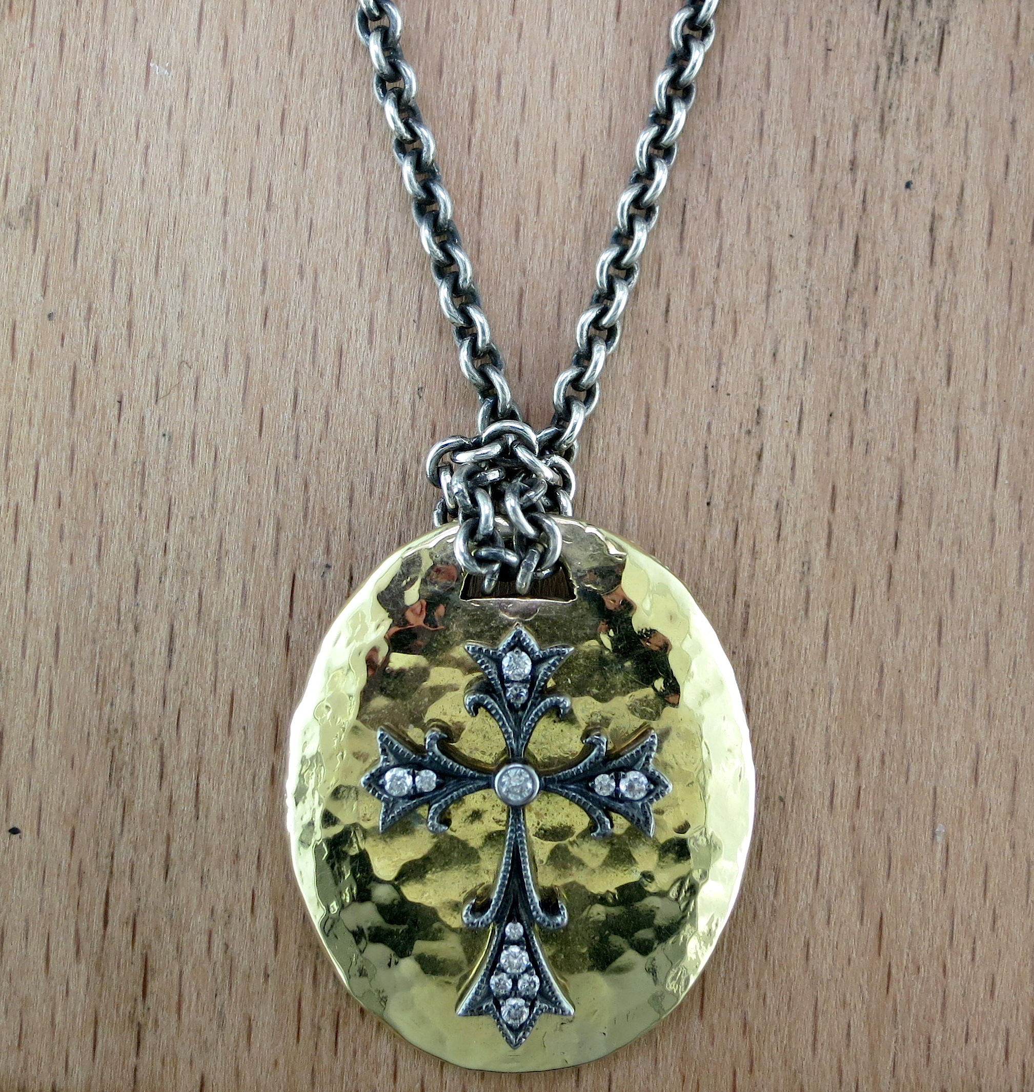 Hand Forged Silver, 18 Karat Yellow Gold and White Diamond Pendant on a Hand Forged Silver Chain (MB1448)