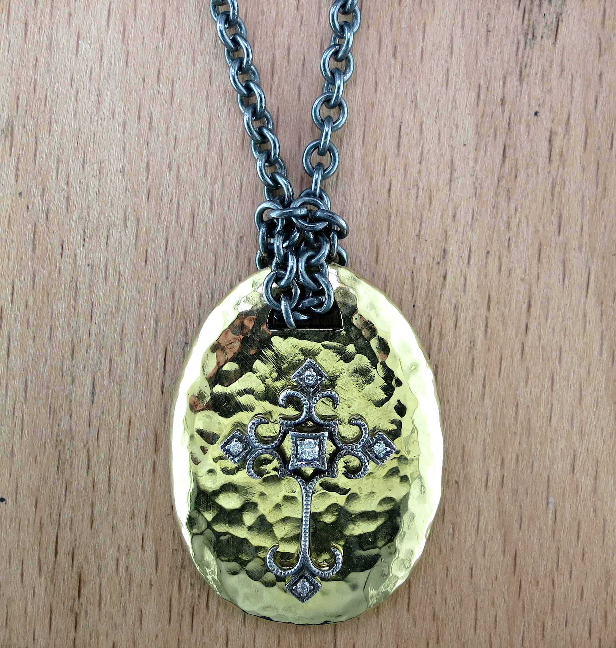 Hand Forged Silver, 18 Karat Yellow Gold and White Diamond Pendant on a Hand Forged Silver Chain (MB2137)