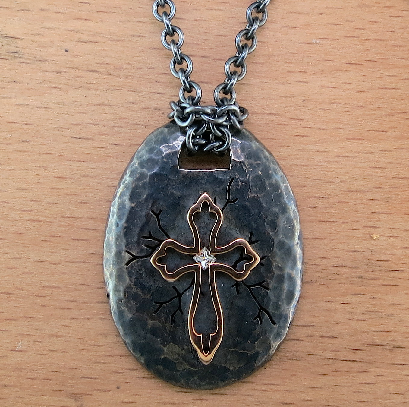 Hand Forged Silver, 18 Karat Yellow Gold, and Diamond Cross Pendant on an Organic Silver Chain (MB2138)