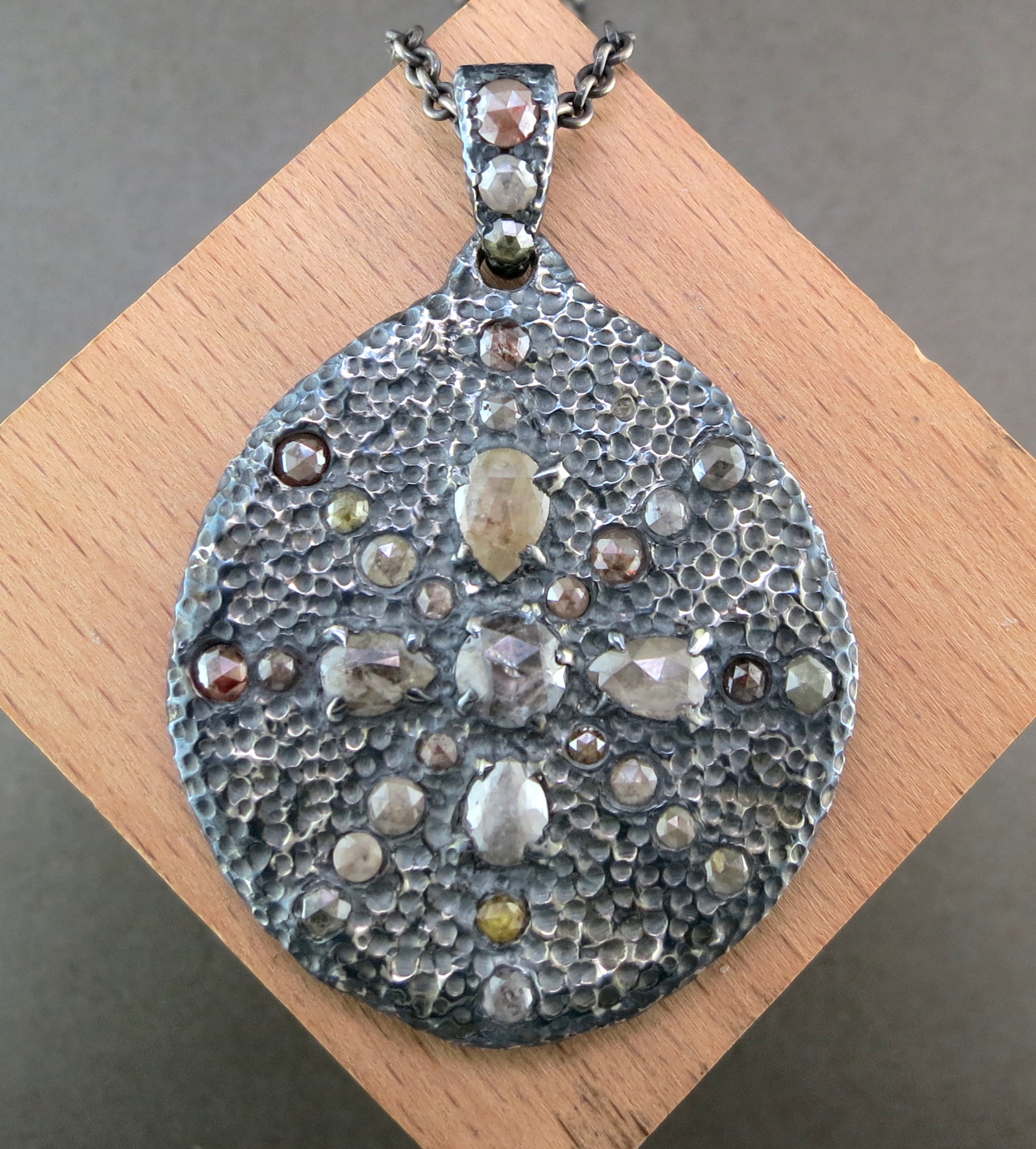 Hand Forged Silver and Raw Diamond Pendant on an Organic Silver Chain (MB2424)