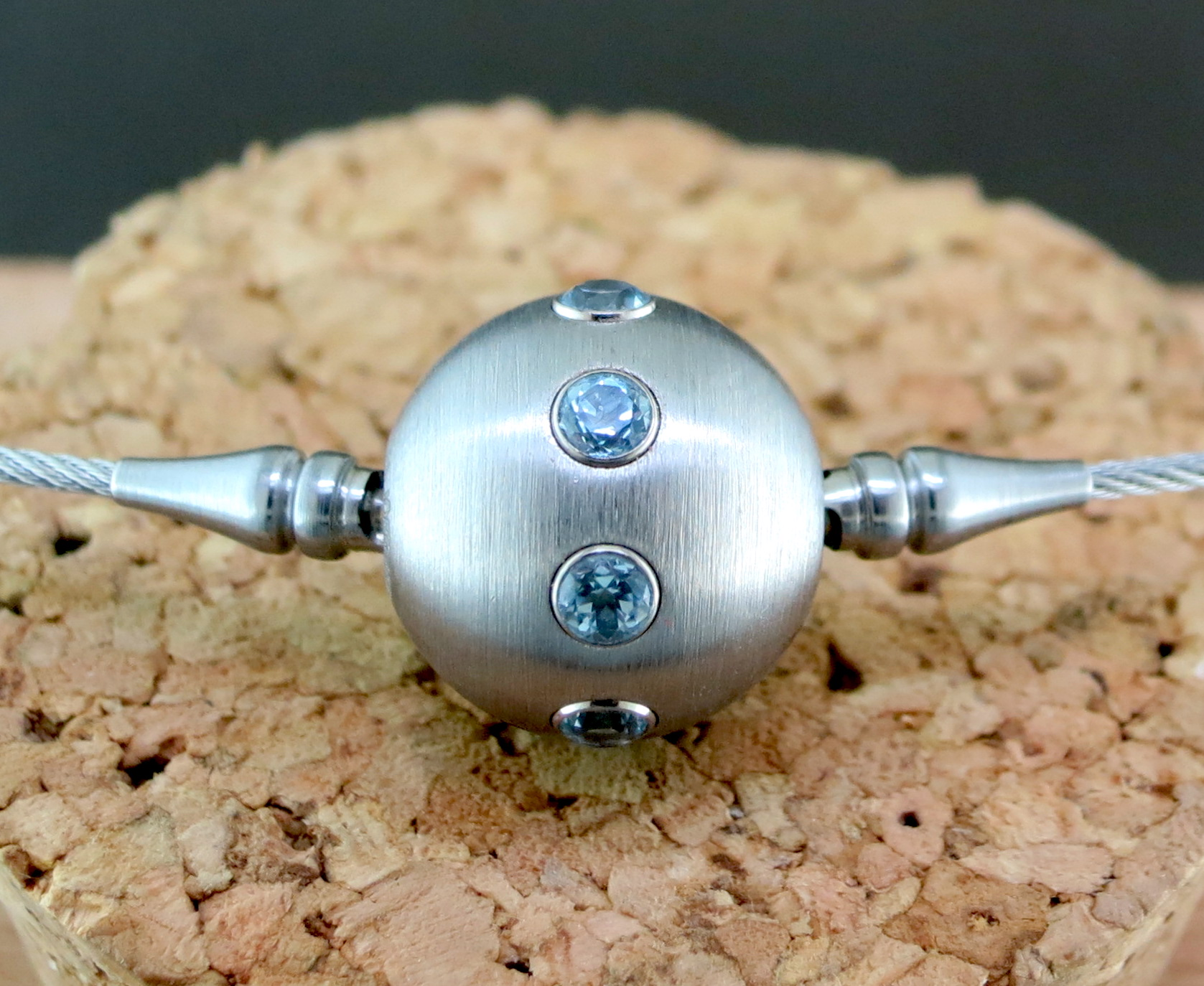Stainless Steel and Blue Topaz Charm on a Stainless Steel Necklace (S707and MB706)