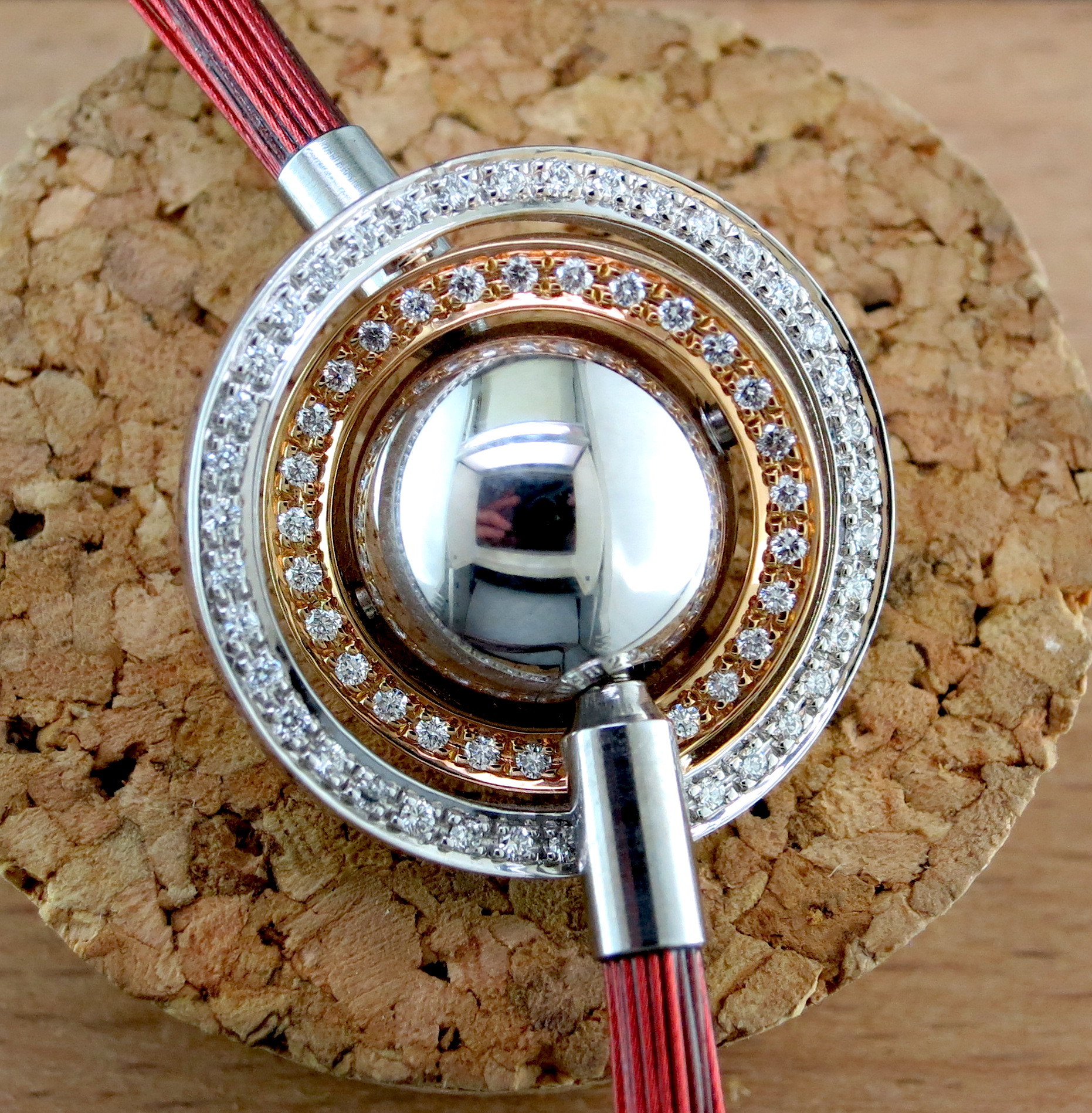 18 Karat White Gold, 18 Karat Rose Gold, and Diamond Removable Charm on an Amber NylonNecklace (S1673 and S16790)