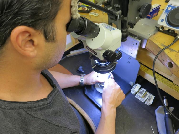 Michael Barin working in his studio