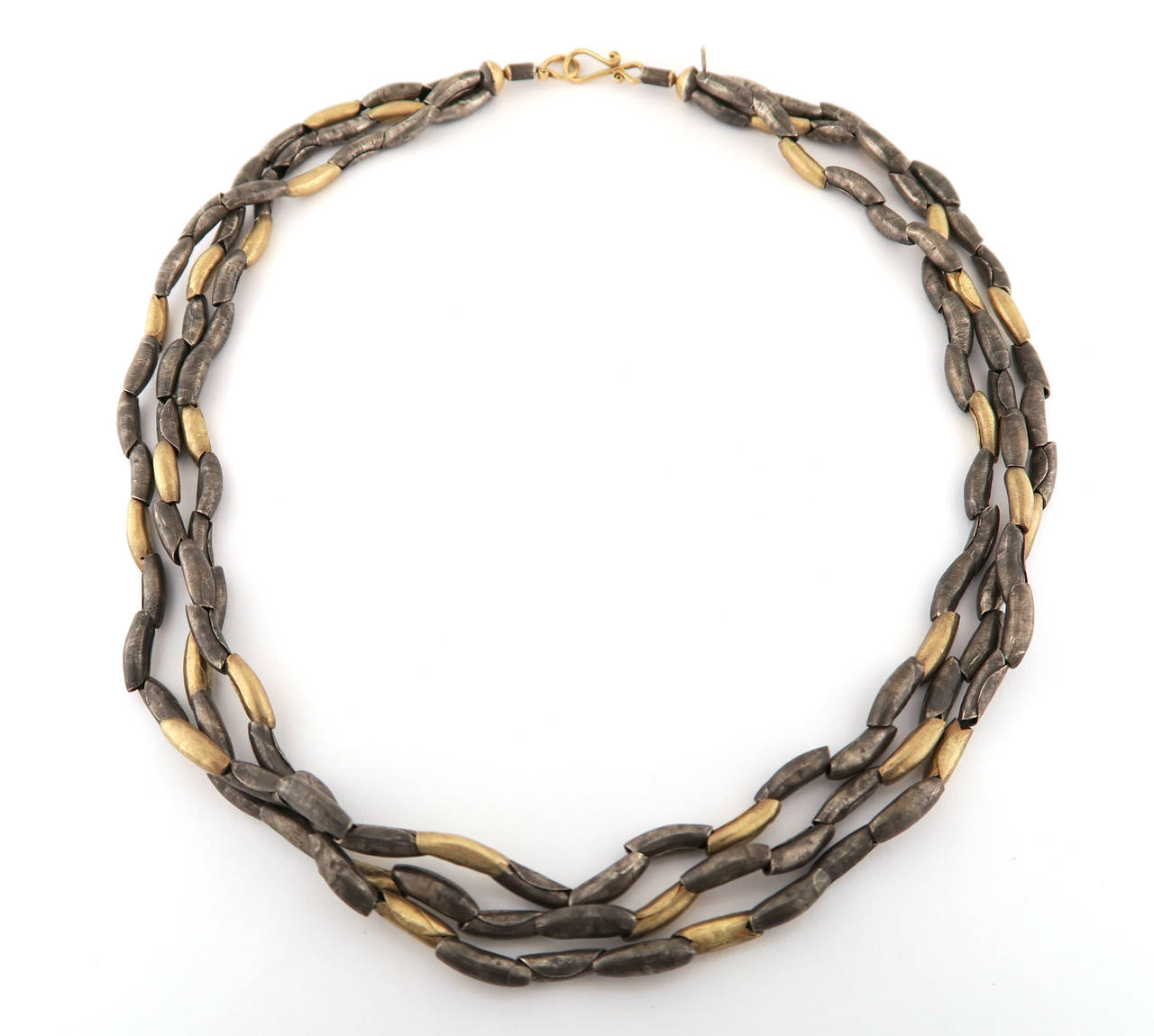 Organic Silver Gold Multi Strand Necklace