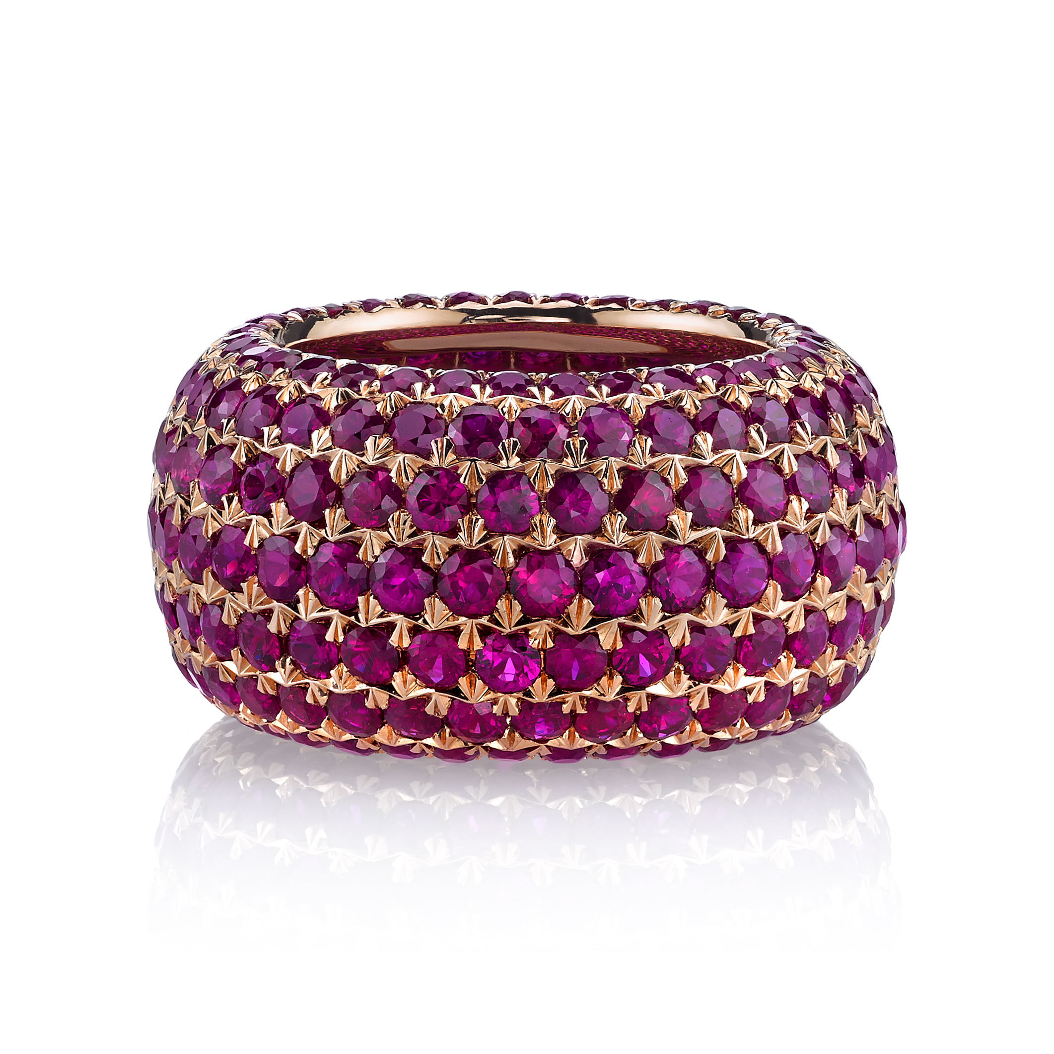 Ruby Ring - 18 Karat Rose Gold,14cts. of Rubies.