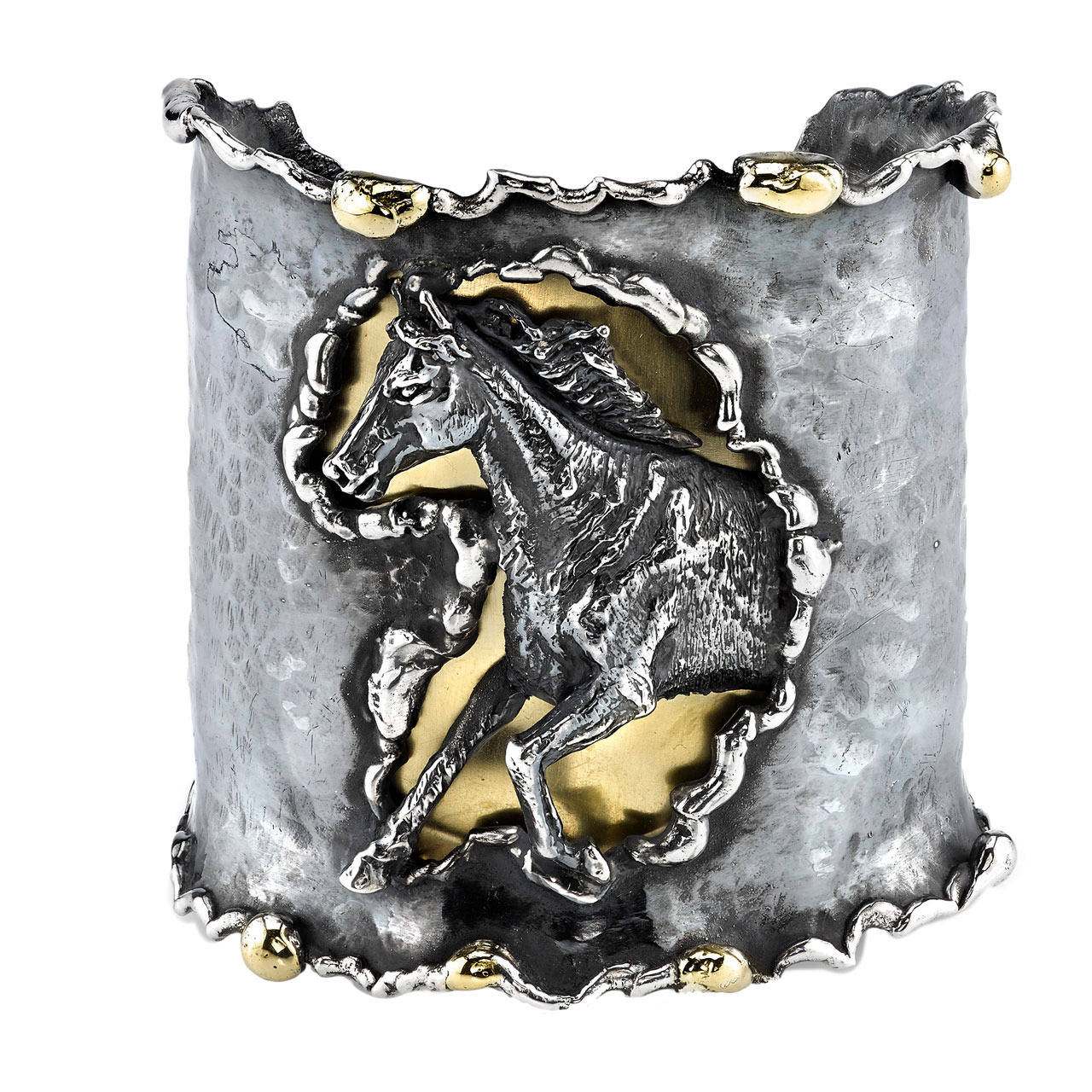 Horse Cuff  - Organic Silver and 18 Karat Yellow Gold Horse Cuff.  Send us an image of your horse and we can customize a cuff bracelet. Available in Rose Gold.