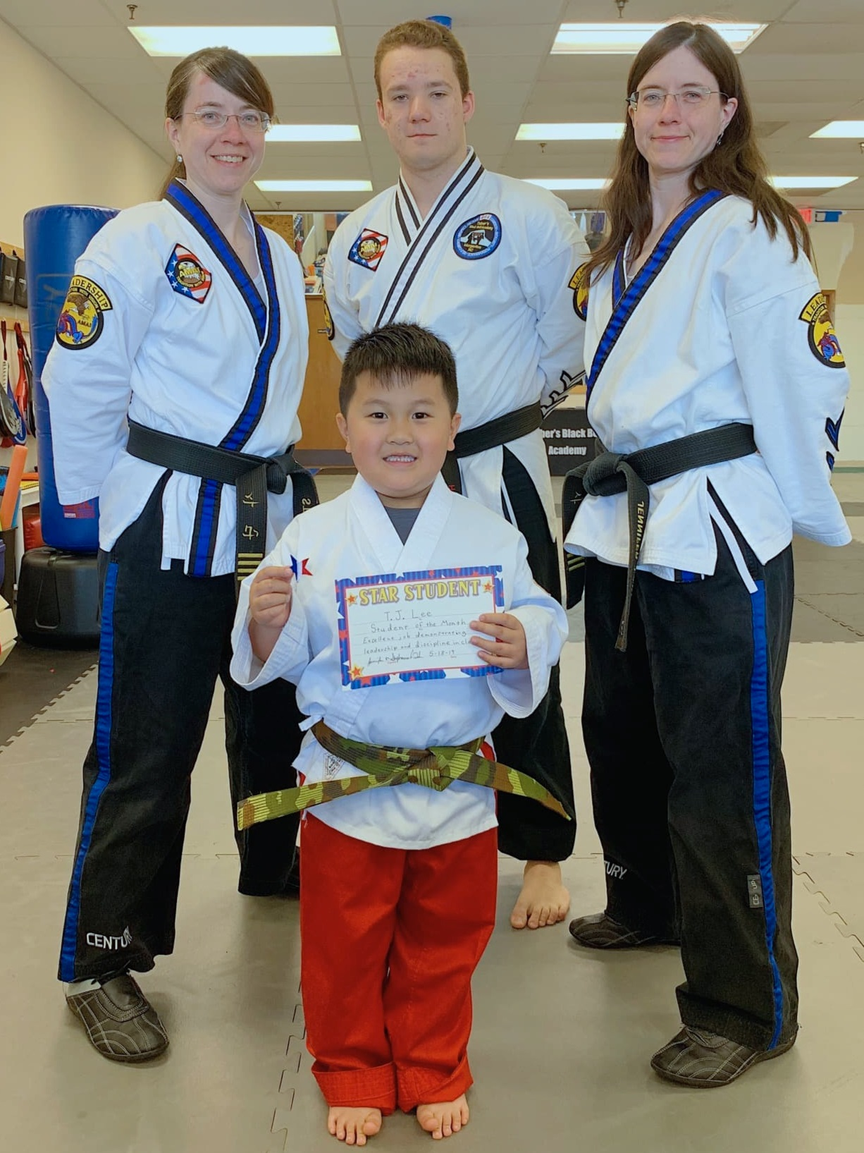 TJ - TJ is a 5 year old and just recently graduated to camo belt! He has shown awesome integrity!