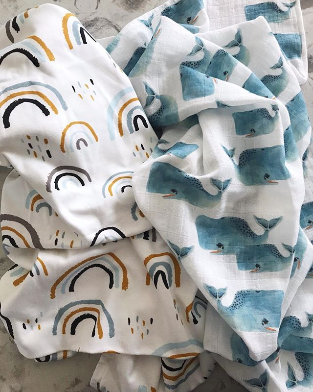Sick of seeing cute baby things?  Cause I ain't.  Sewed up these adorable organic prints from @spoonflower last night.  The rainbow one is a thick knit crib sheet and the watercolor whales is  a gauze swaddle.  So glad I splurged on these for the babe, the quality is AMAZING.  Tagged the designers so you can find them on spoonflower 😍🐳 btw I don't do ads or sponsored posts, I just love sharing my finds.