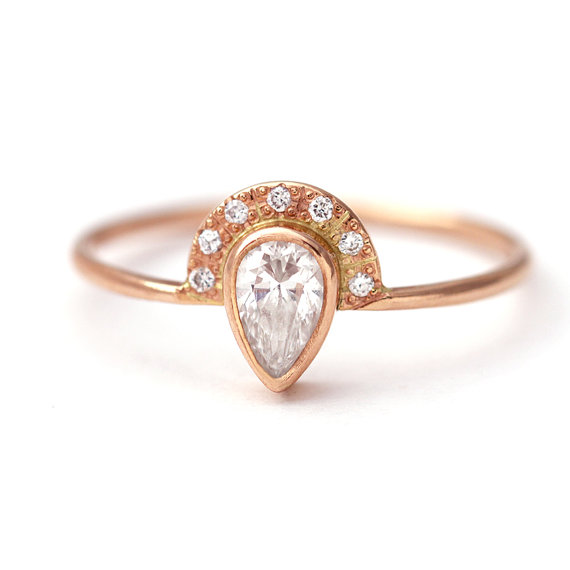 Etsy Pear Diamond Engagement Ring with Pave