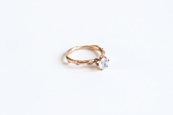 Etsy 14k gold and moonstone twig engagement ring