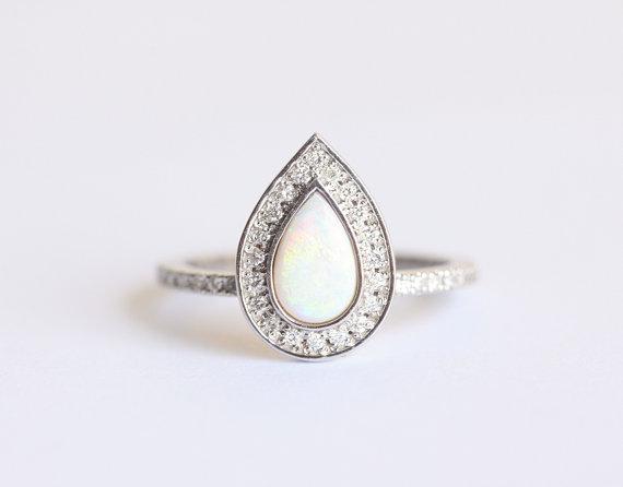 Etsy Opal Engagement Ring Halo Diamond