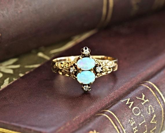 Etsy Victorian Opal Rose Cut Diamond