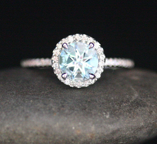 Etsy Aquamarine Engagement Ring Round