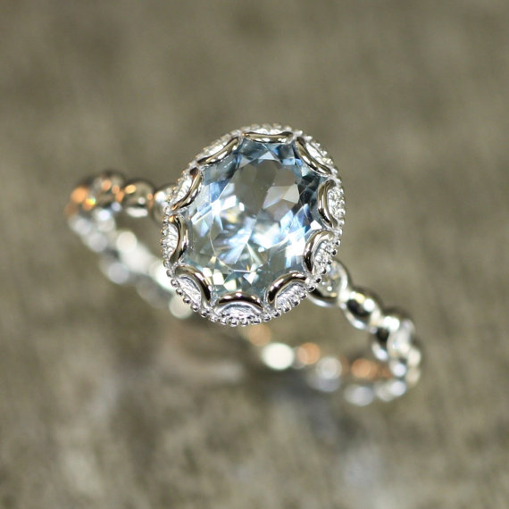 Etsy floral aquamarine engagement ring 14k