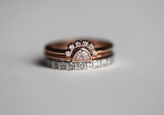 Etsy Diamond Wedding set three rings