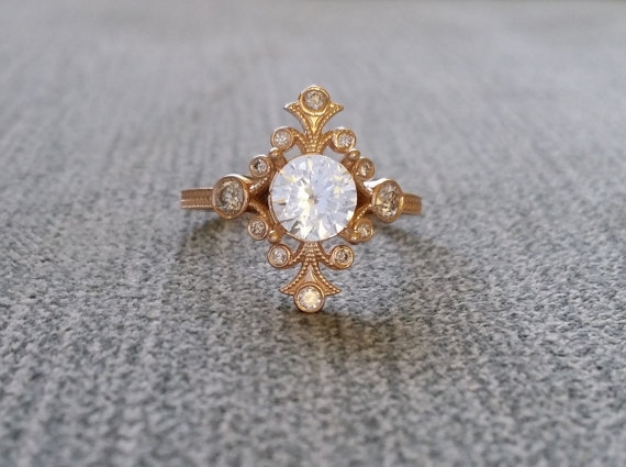 Etsy White Sapphire and diamond rose gold vintage ring