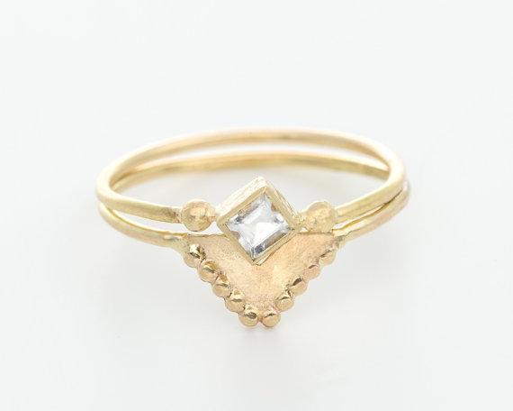 Etsy Wedding Set gold and moonstone ring