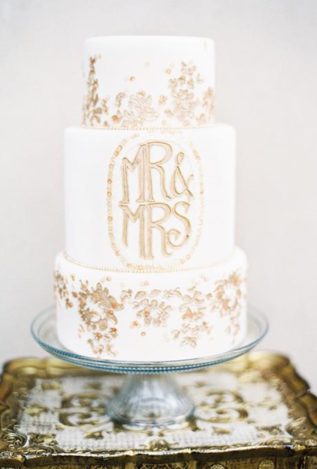 Metallic Monogram Wedding Cake
