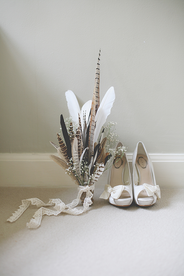 Flowers and Feather Bouquet with Wedding Shoes