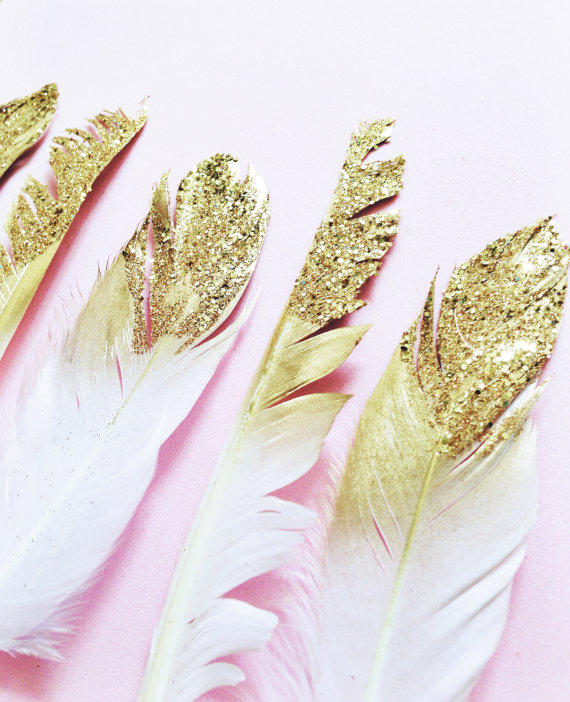 Gold Dipped Glitter Feathers from Etsy