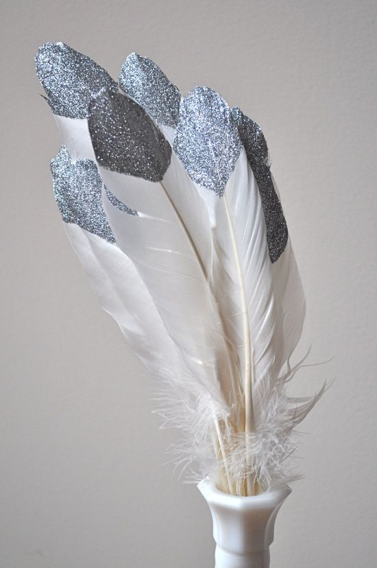 Silver Tipped Glitter Feathers