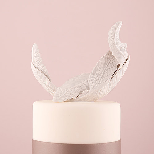 White Feather Porcelain Cake Topper