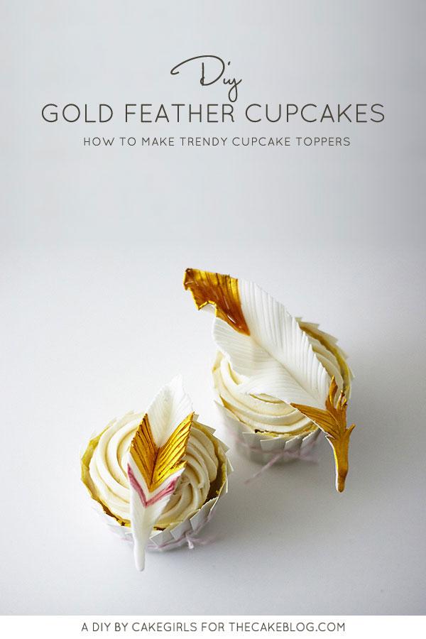 DIY Gold Feather Cupcakes