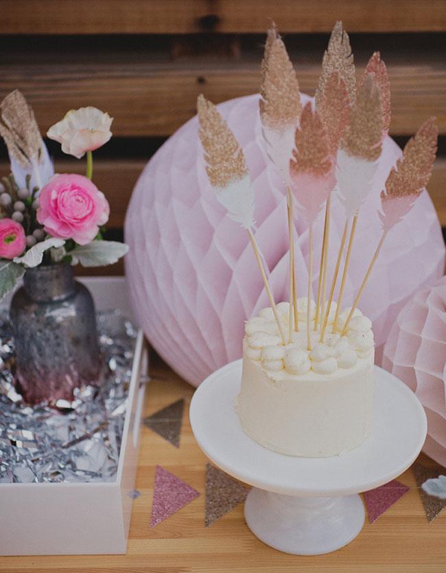 Southwest boho cake feather topper