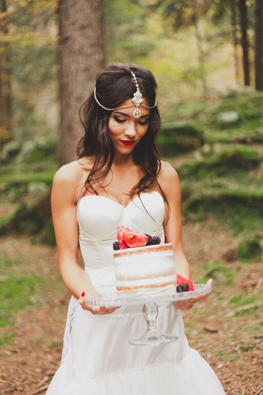 Boho Wedding in the Alps bride and cake 1.jpg