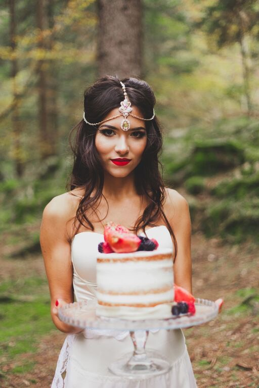 Boho Wedding in the Alps bride and cake.jpg