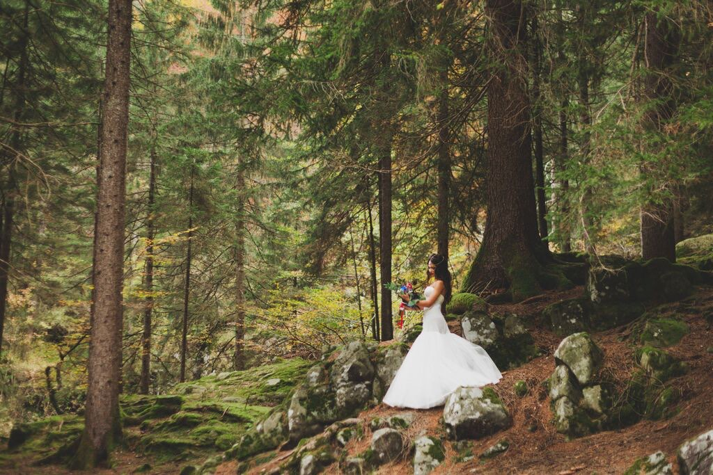 Boho Wedding in the Alps forest bride.jpg