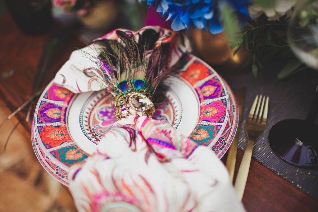 Boho Wedding in the Alps jewel table setting.jpg