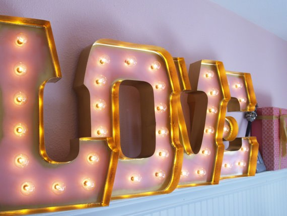Pink and Gold Love Marquee Letters