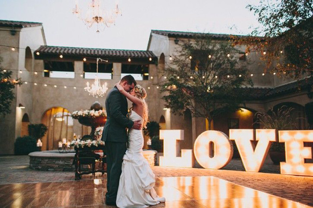 Love Marquee Letters on the Dance Floor