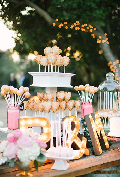 Marquee Lights on Desert Table