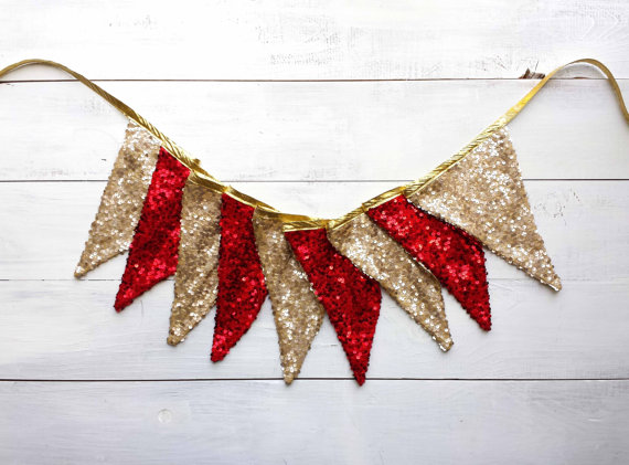 Red and Gold Sequin Bunting
