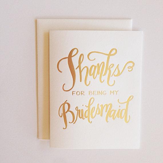 Calligraphy Bridesmaid Card
