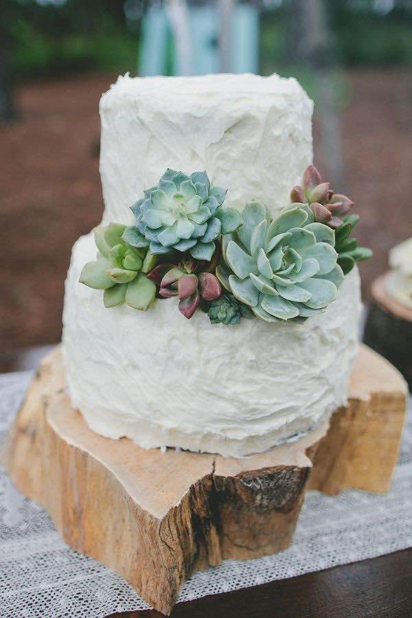 White Buttercream Wedding Cake with Succulent Details