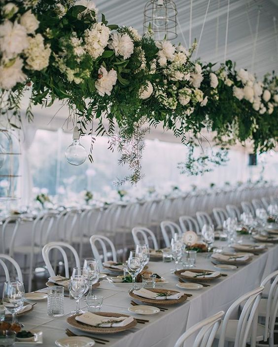 Wedding Greenery Hanging with White Flowers