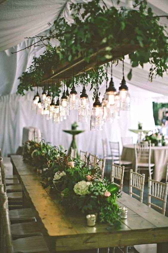 Rustic Wood Beam with Greenery and Hanging Lights