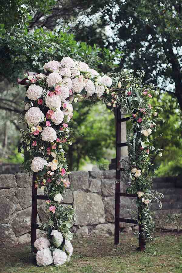 White and Pink Flowered Wedding Arch
