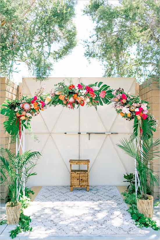 Tropical Wedding Arch with Flowers